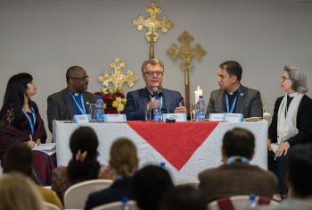 Professor Veli-Matti KaÌrkaÌinnen replies to a response panel to a paper of his. Gathered in Addis Ababa from 23-27 October 2019, Lutherans from across the globe join in consultation under the theme of 'We believe in the Holy Spirit: Global Perspectives on Lutheran Identities'. Hosted by the Ethiopian Evangelical Church Mekane Yesus, the consultation is the first phase of a study process on Lutheran identities. Photo: LWF/Albin Hillert
