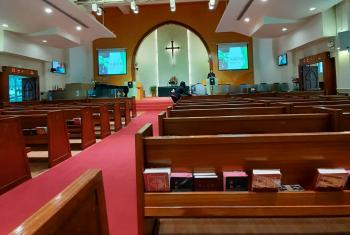 """A few churches cancelled Sunday services on 9 February, more joined them on 16 February, and still more on 23 February. All other church programs and gatherings have been cancelled. Most kinds of pastoring and fellowship, including Sunday worship, can only be done via internet or telephone."" Photo: Joyce Hon/Chinese Rhenish Church Hong Kong Synod"