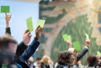 LWF Council, here meeting in Geneva in 2019, will elect the next General Secretary in June 2021. Photo: LWF/Albin Hillert