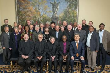 The representatives of five Christian World Communions --Anglicans, Catholics, Lutherans, Methodists and the Reformed-- at the Notre Dame Consultation. Photo: Steve Toepp / University of Notre Dame