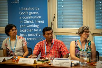 LWF Third International Lay Leaders' Seminar, held from 27 June to 6 July in Geneva and Wittenberg. Participants Mabel Ngee-fui Ho (Malaysia), Melkion Panuaitan (Indonesia) and Anna Christine Ursula Unruh-lungfiel (Germany). Photo: LWF/S. Gallay