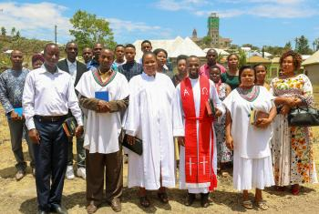 Rev. Frank Mexon Mng'ong'o (wearing red stole), ELCT's new Youth Coordinator, in a photo from early 2020. Mng'ong'o was ordained in Jan. 2020. Photo: ELCT