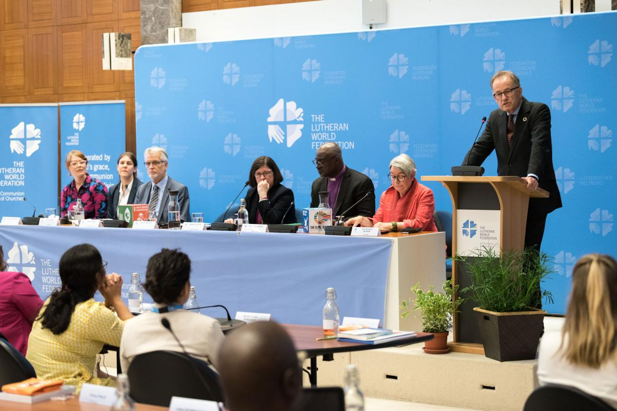 Director General of the United Nations Office at Geneva, Michael Møller addresses the launch of the Waking the Giant self-assessment tool on 17 June. Photo: LWF/A.Hillert