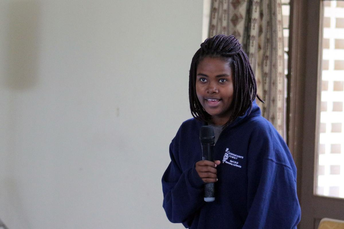 Young reformer Melisa Hove, Evangelical Lutheran Church in Zimbabwe, addressing the 2019 Africa Lutheran Church Leadership Consultation in Moshi, Tanzania. Photo: ALCINET