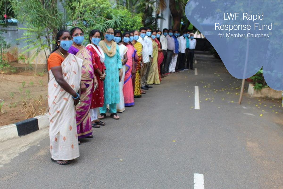 The United Evangelical Lutheran Churches in India staff wearing the Lutheran World Federation face masks. Photo: Rev. A. Joshuva Peter/ UELCI
